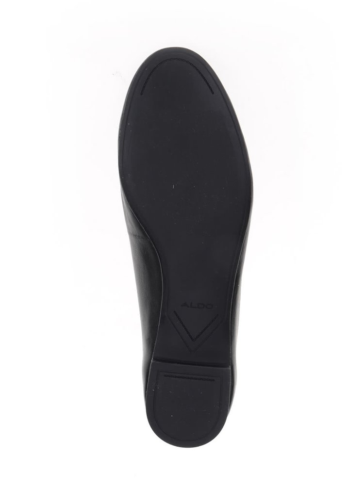 Černé kožené baleríny s perforovaným detailem ALDO Kaydien