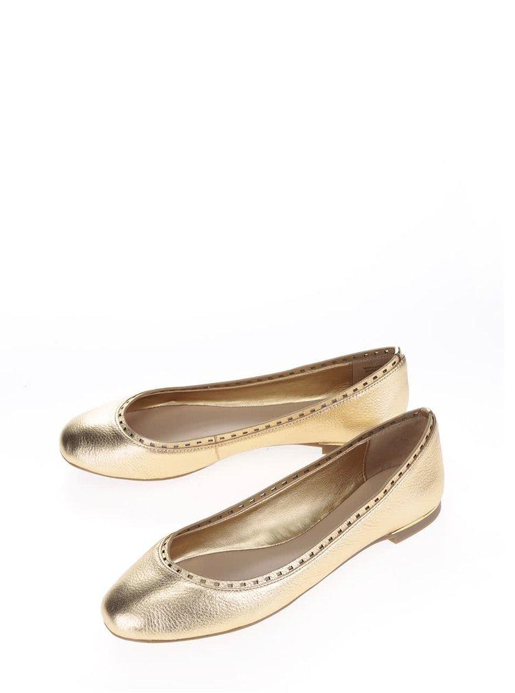 Kožené lesklé baleríny ve zlaté barvě s perforovaným detailem ALDO Kaydien