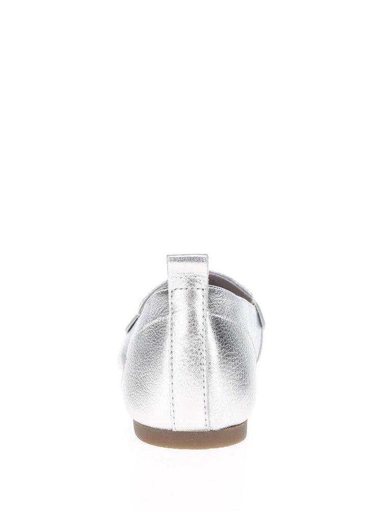 Dámské lesklé kožené mokasíny ve stříbrné barvě ALDO Cherryhill