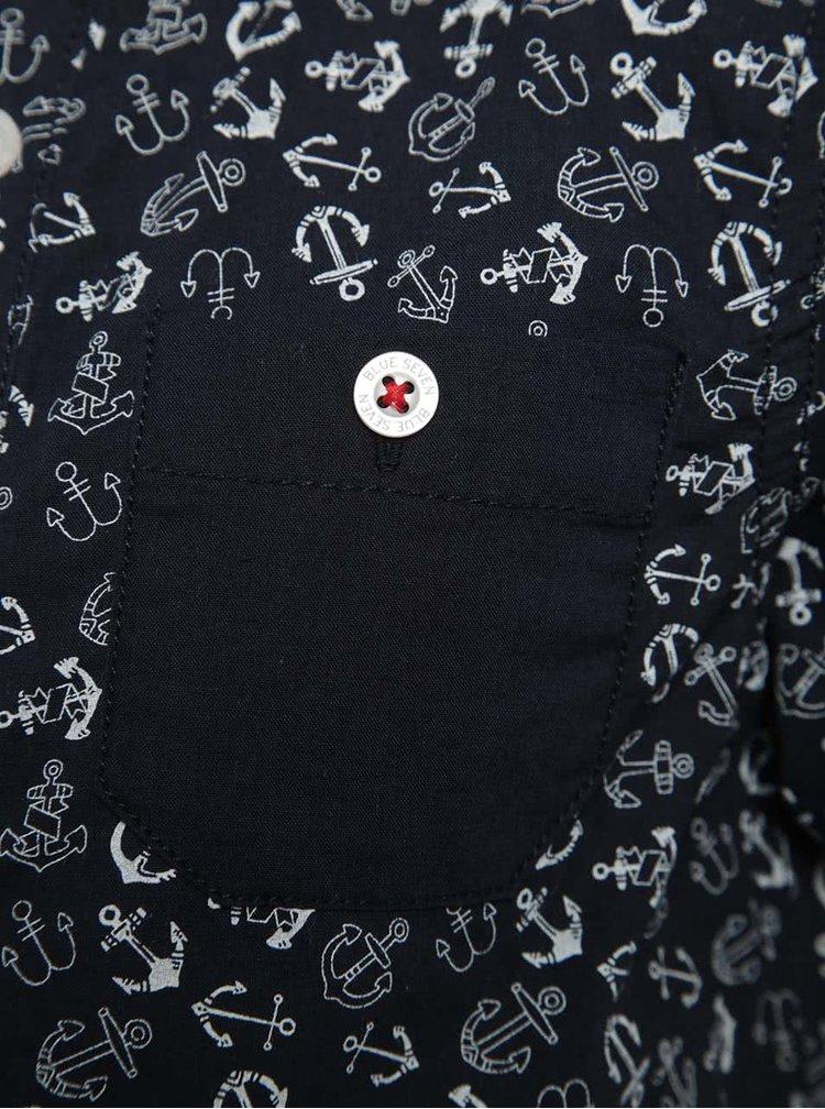 Modrá vzorovaná klučičí košile Blue Seven