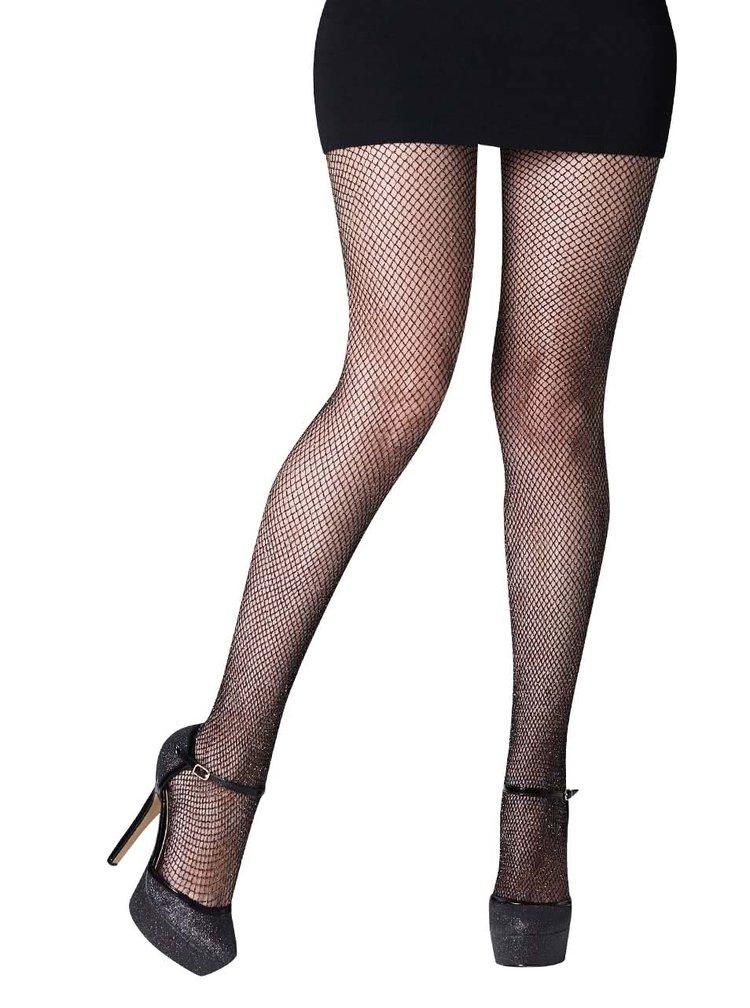 Síťované punčochové kalhoty ve stříbrno-černé barvě Gipsy