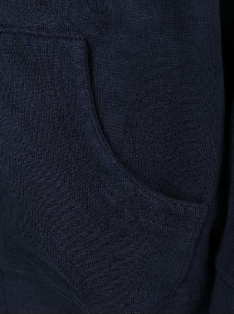 Tmavě modrá klučičí mikina s kapucí a potiskem Blue Seven