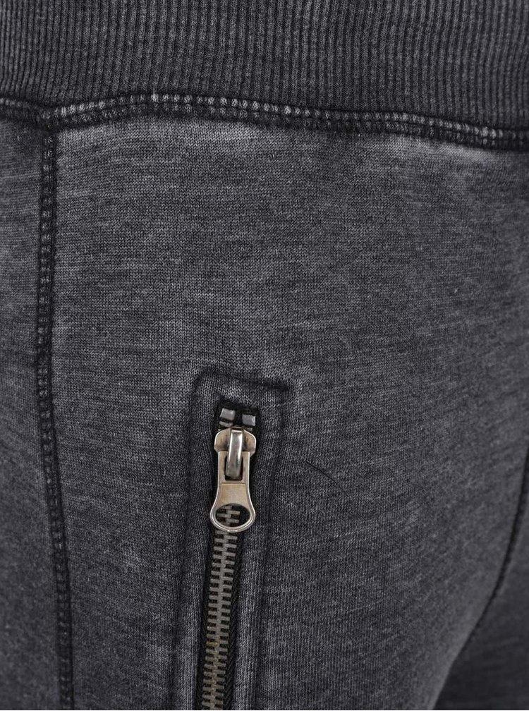 Tmavě šedé klučičí tepláky s prošíváním na kolenou Blue Seven