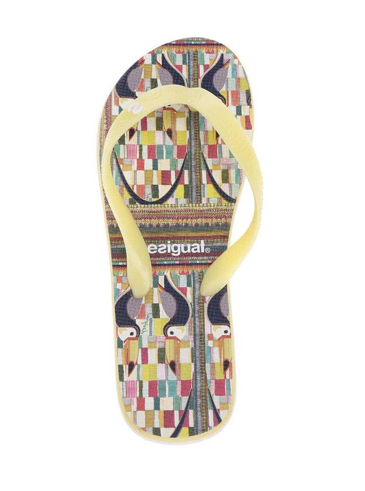 Șlapi galbeni Desigual Tucan cu imprimeu