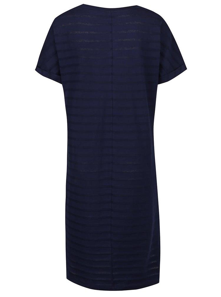 Tmavě modré šaty s průsvitnými pruhy Bench