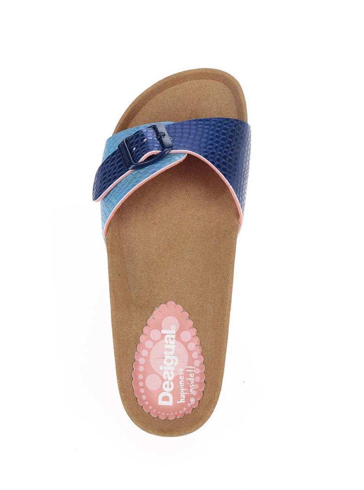 Metalické pantofle v modré barvě Desigual Bio1
