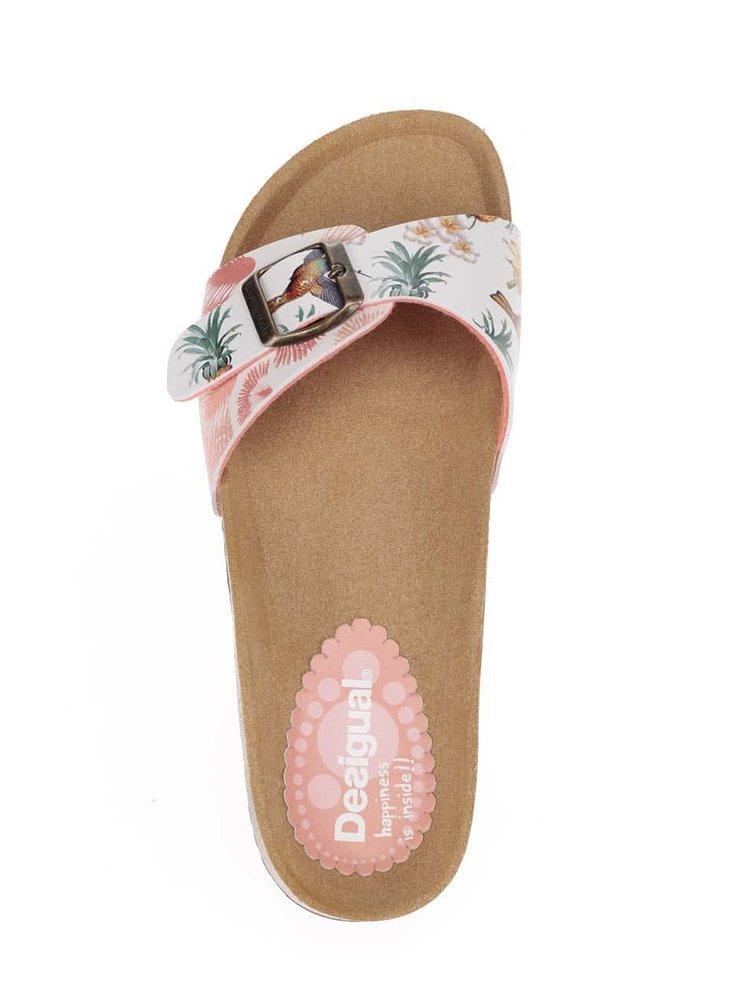 Krémovo-hnědé pantofle s tropickým potiskem Desigual Tropical