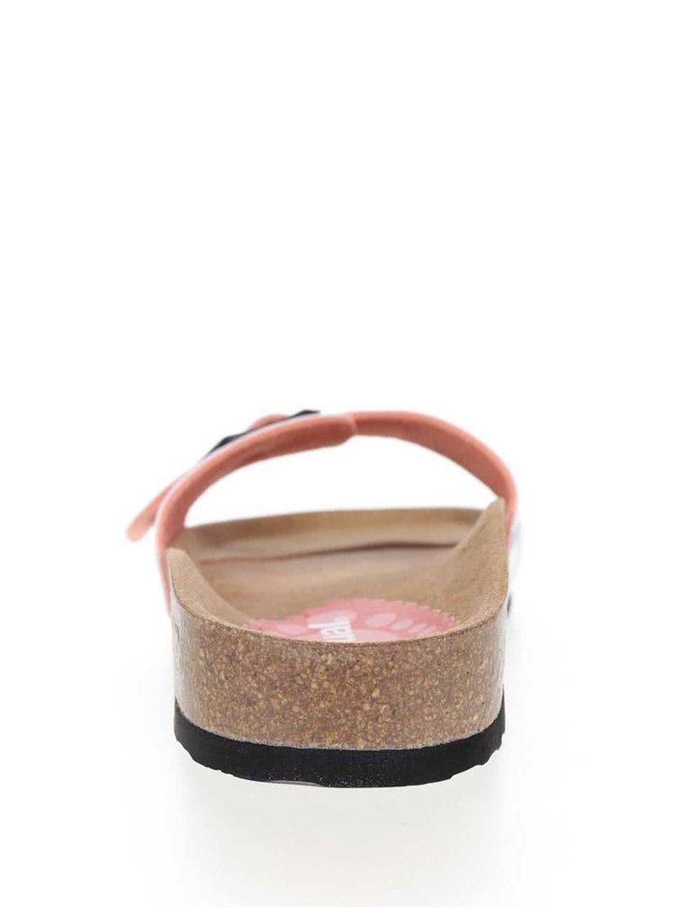 Krémovo-hnědé pruhované pantofle Desigual Flores & Rayas