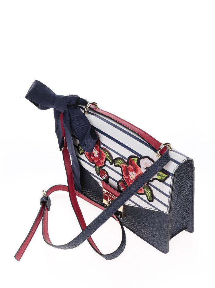 Červeno-modrá vzorovaná crossbody kabelka s nášivkami ve tvaru květů ALDO Buccini