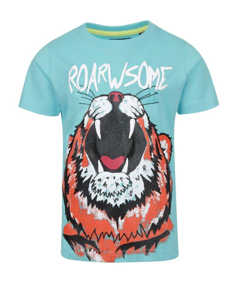 Tyrkysové klučičí triko s motivem tygra Blue Seven