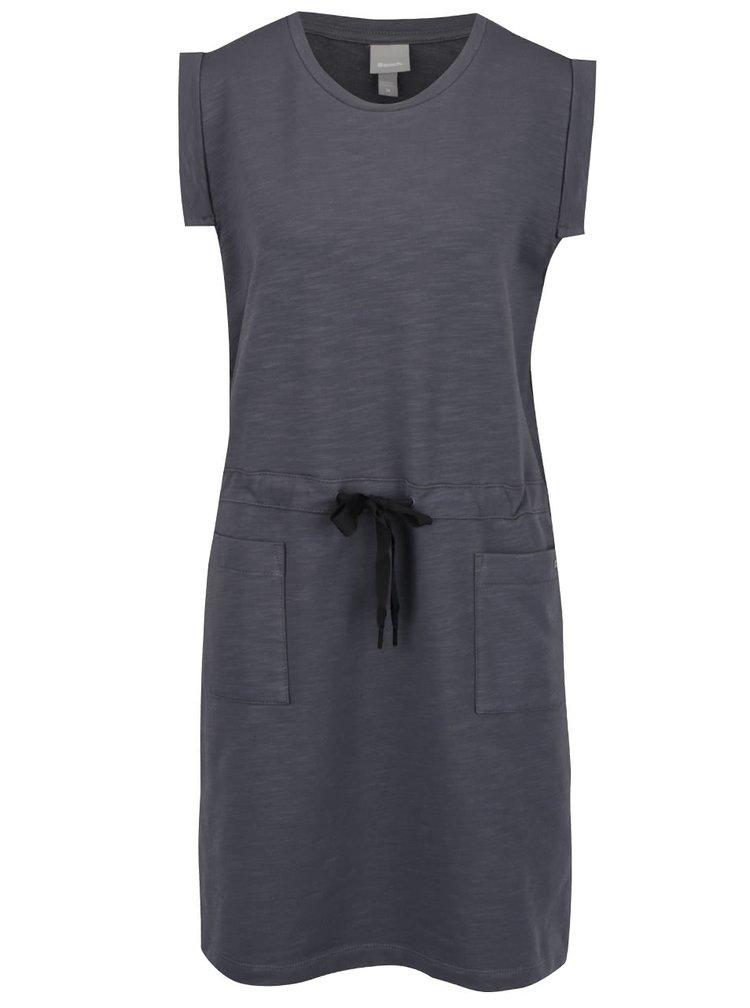 Tmavě šedé oversize šaty se stahováním v pase a kapsami Bench