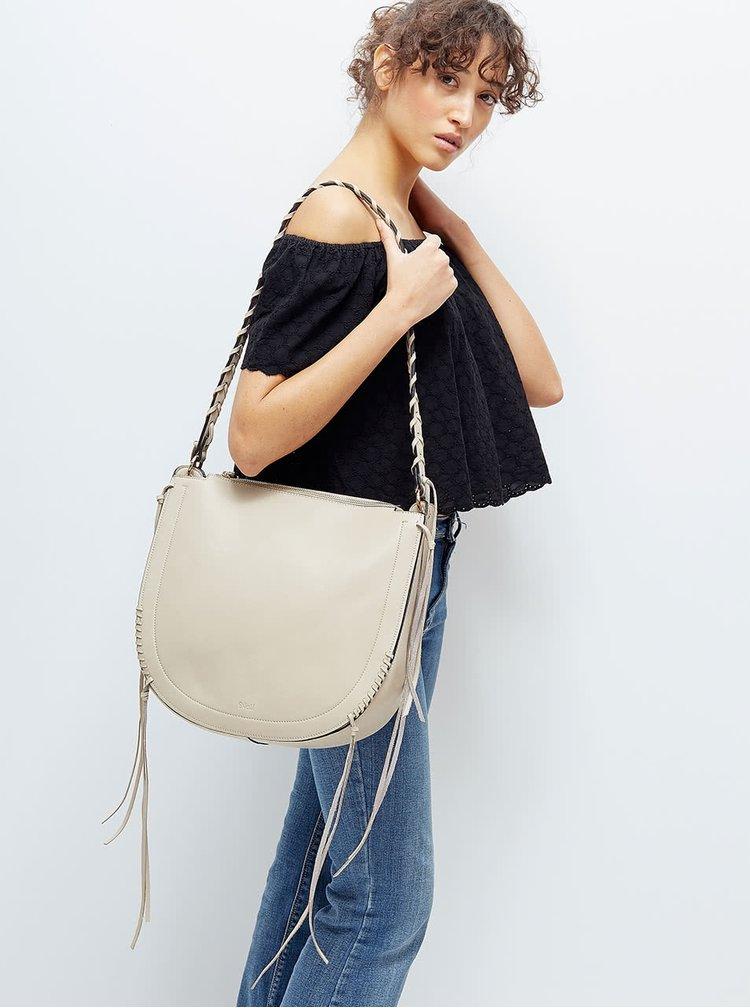 Béžová kabelka s třásněmi Nalí