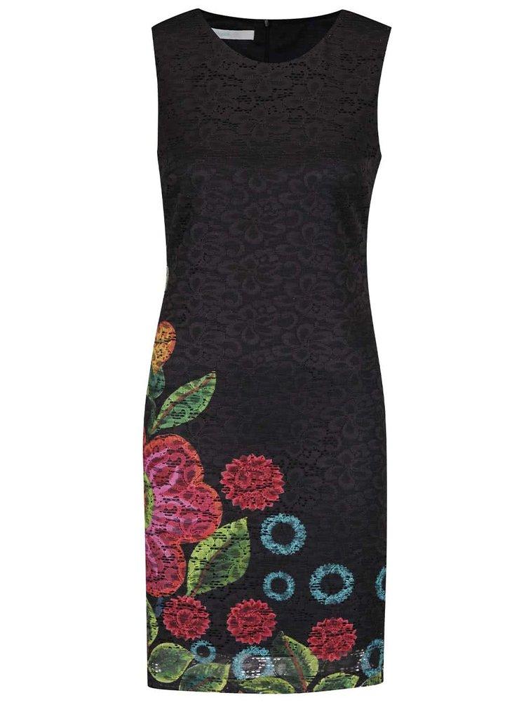 Černé krajkové květované šaty s potiskem Desigual Blues