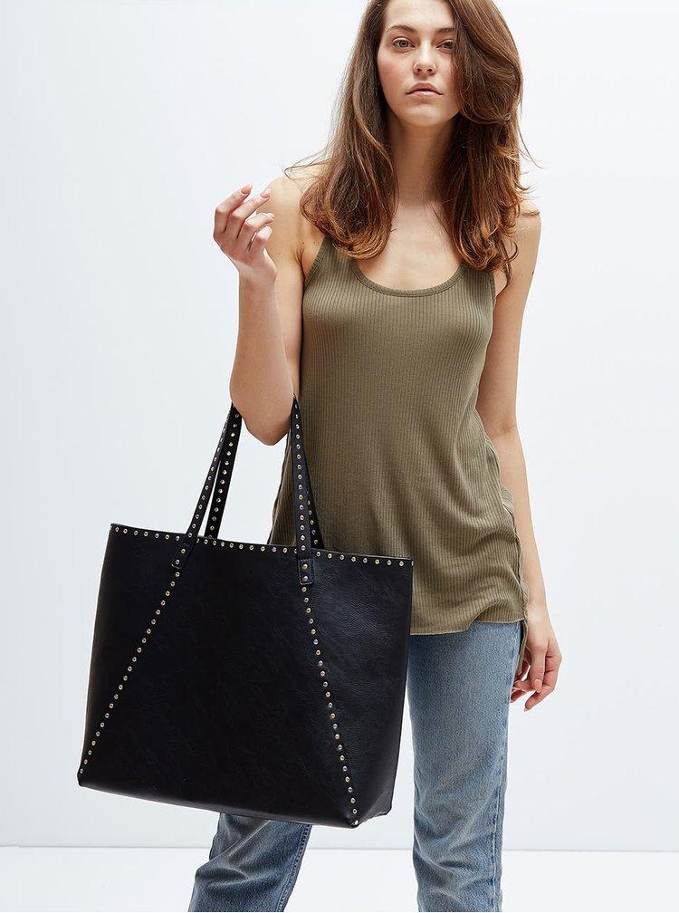 Krémovo-černý velký oboustranný shopper s pouzdrem 2v1 Nalí