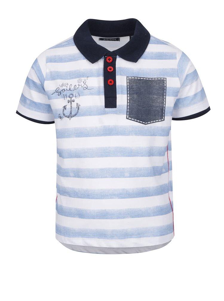 Bílo-modré klučičí pruhované polo triko Blue Seven
