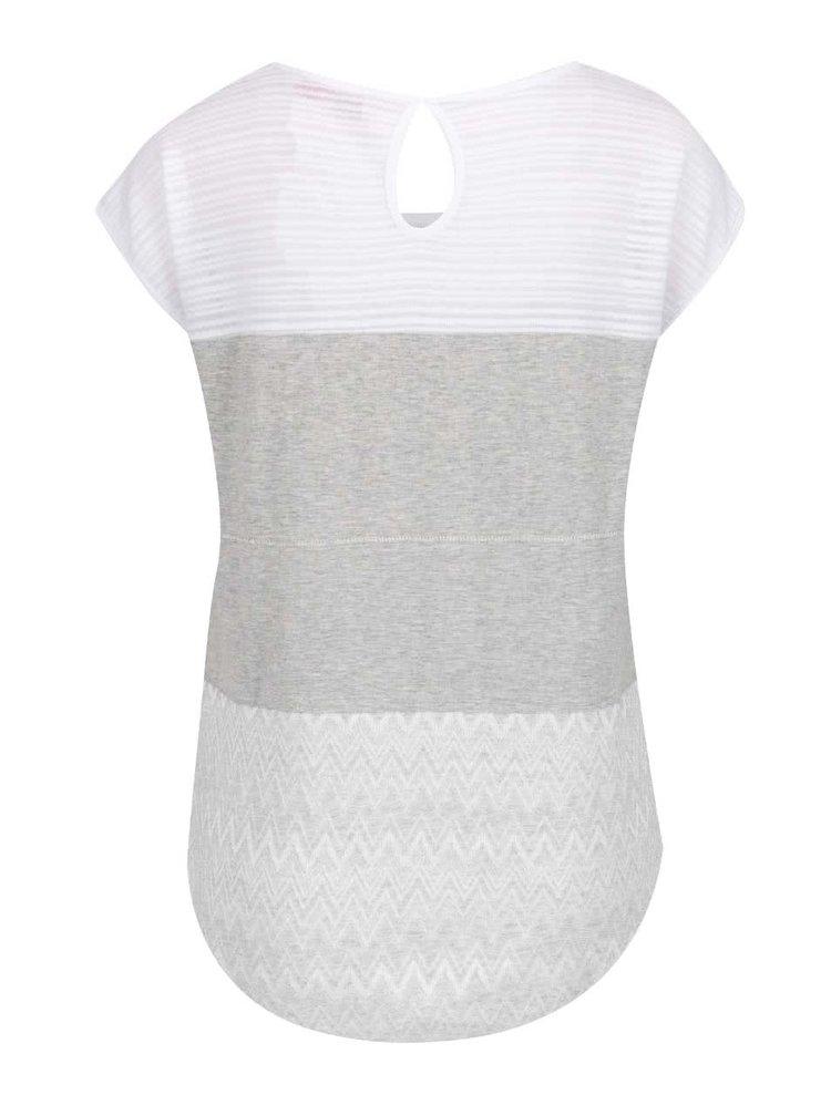 Tricou gri&alb Desigual Mire cu inserție din dantelă