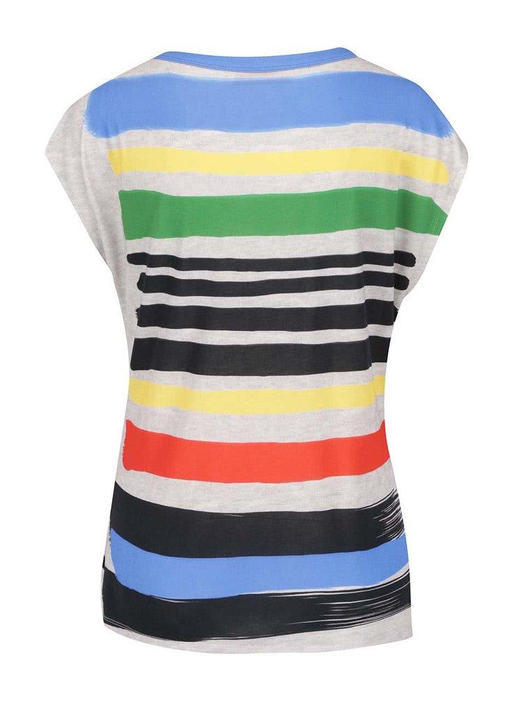 Modro-šedé vzorované volné tričko Desigual Sarita