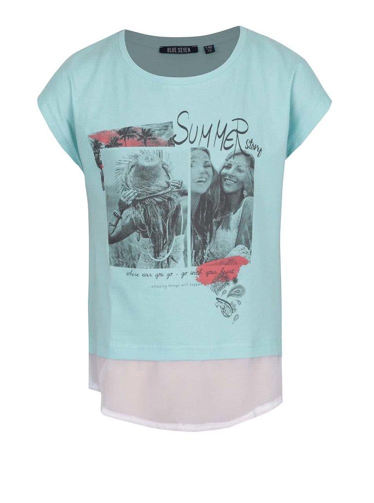 Zelené holčičí tričko s všitou halenkou a rozparkem na zádech Blue Seven