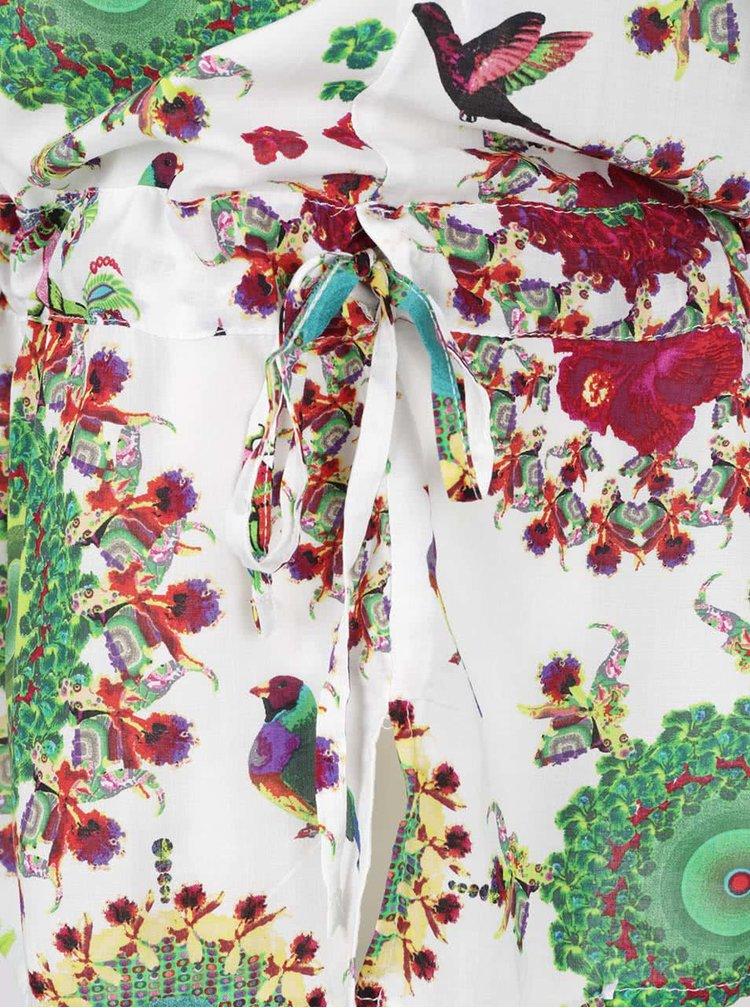 Bluză lungă crem cu imprimeu Desigual Kaftan Gala