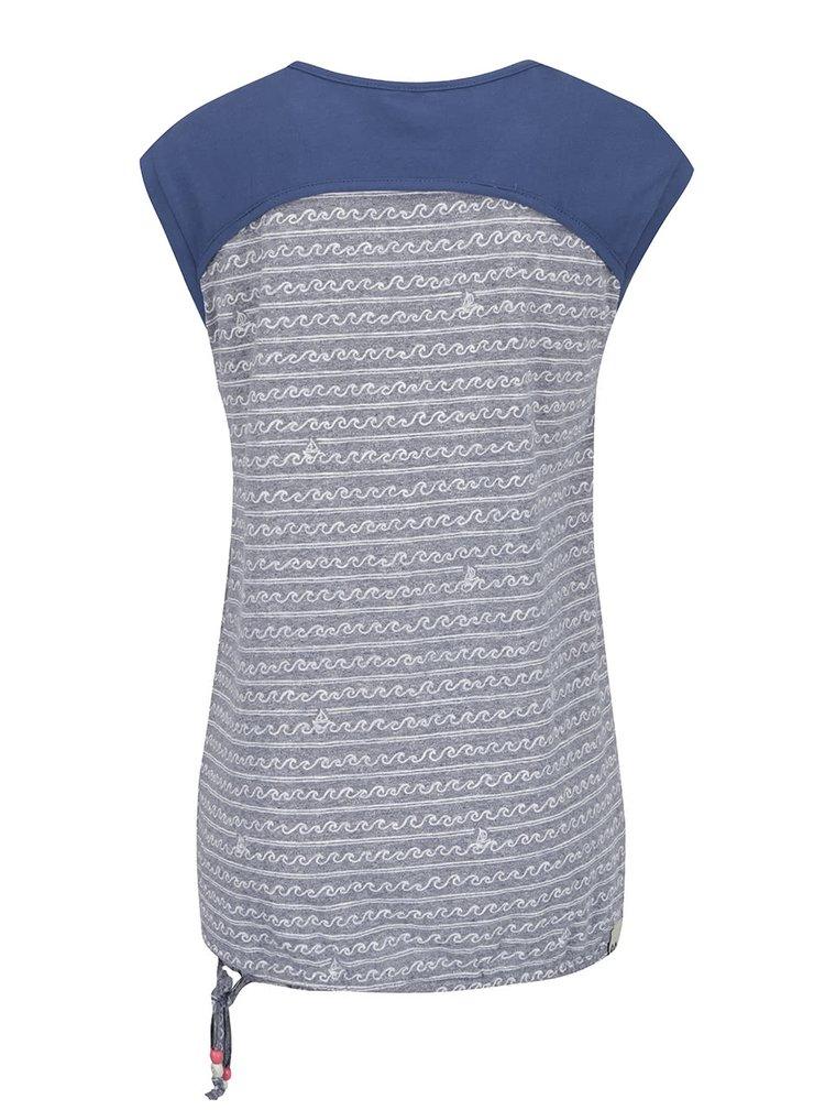 Top gri & albastru Ragwear Mike C din bumbac cu model