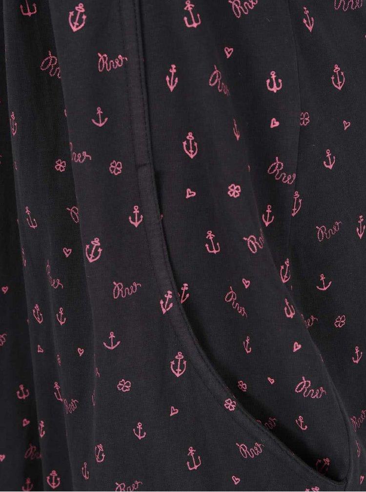Rochie neagră Ragwear Scene din bumbac cu croi în cloș și model