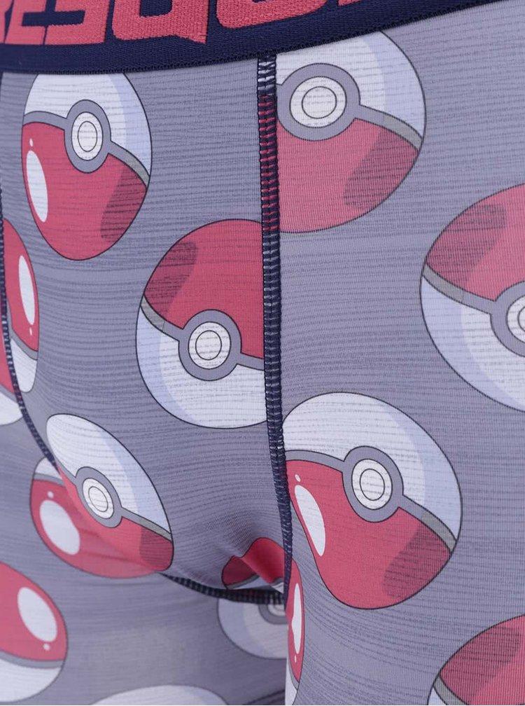 Boxeri rosu & gri Pokémon Freegun cu imprimeu