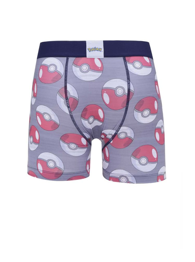 Červeno-šedé boxerky s potiskem Pokémon Freegun