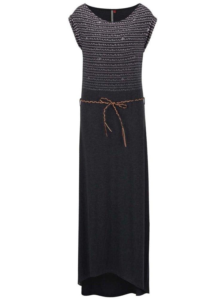 Černé vzorované maxišaty s páskem Ragwear Tag Long