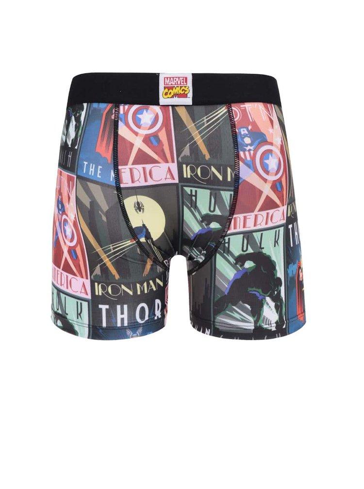 Červeno-černé boxerky s potiskem Marvel Freegun