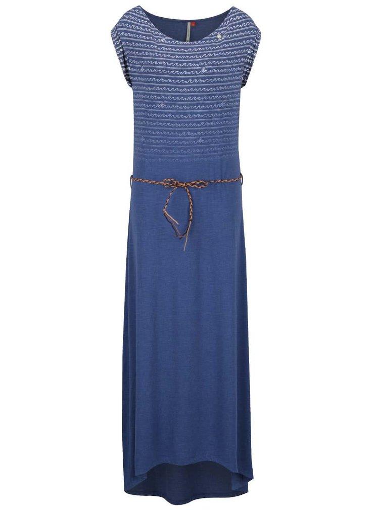 Modré vzorované maxišaty s páskem Ragwear Tag Long