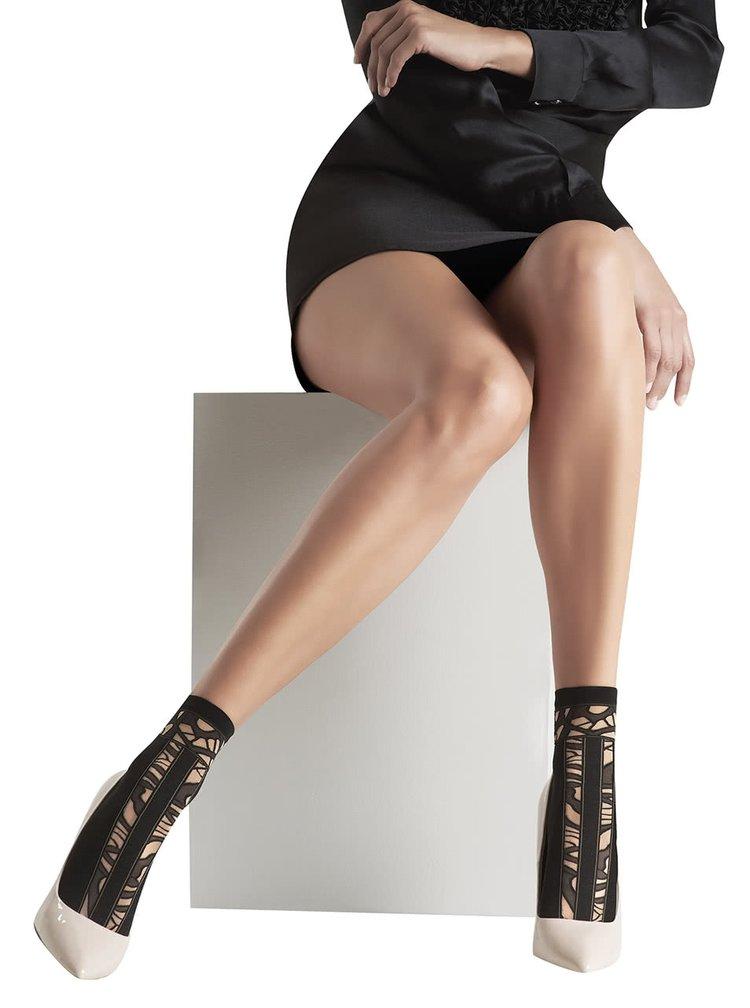 Černé vzorované silonkové ponožky Oroblu Claude