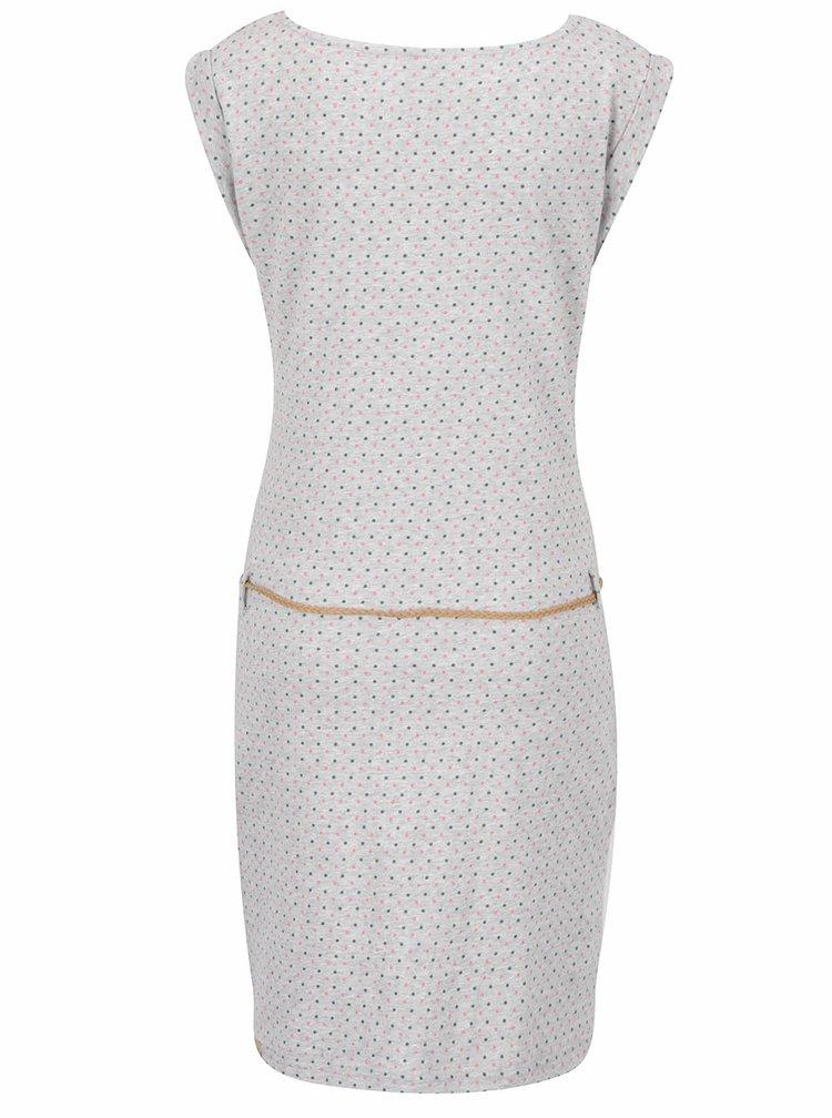 Světle šedé puntíkované šaty s páskem Ragwear Tag Dots