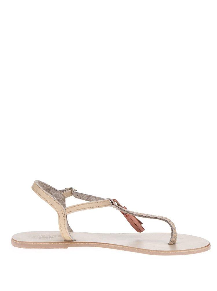 Sandale bej Pieces Lowe din piele