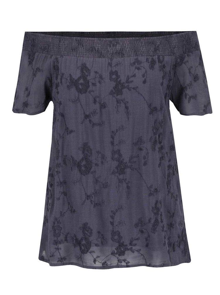 Bluza bleumarin cu broderie florala VILA Jamila