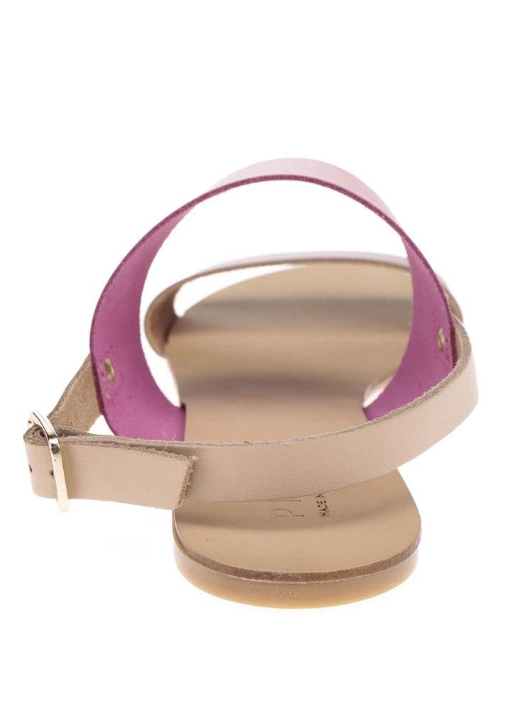 Růžovo-béžové kožené sandály s detaily ve zlaté barvě Pieces Lindsay