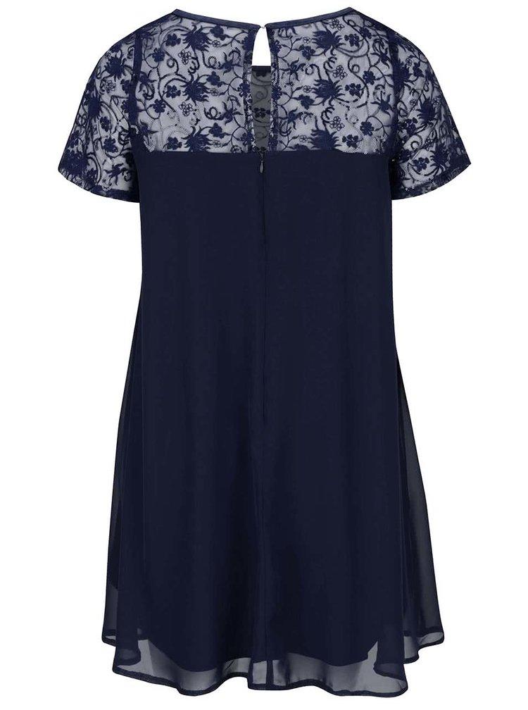 Tmavě modré plus size šaty s průsvitným květovaným sedlem Goddiva