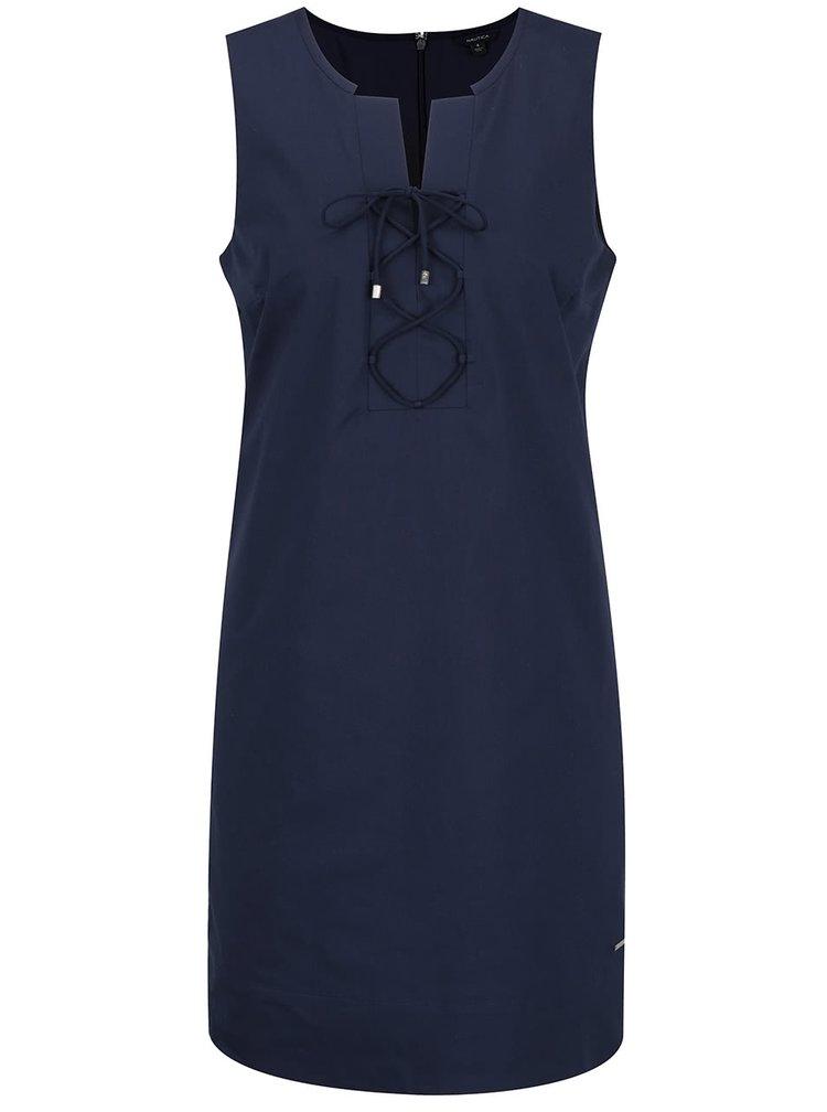 Tmavě modré šaty se šňůrkami v dekoltu Nautica
