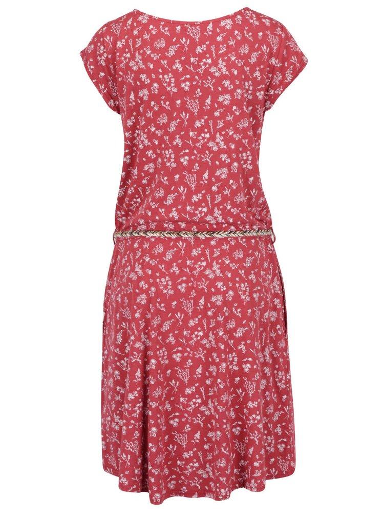Červené květované šaty s páskem Ragwear Zephie A Organic