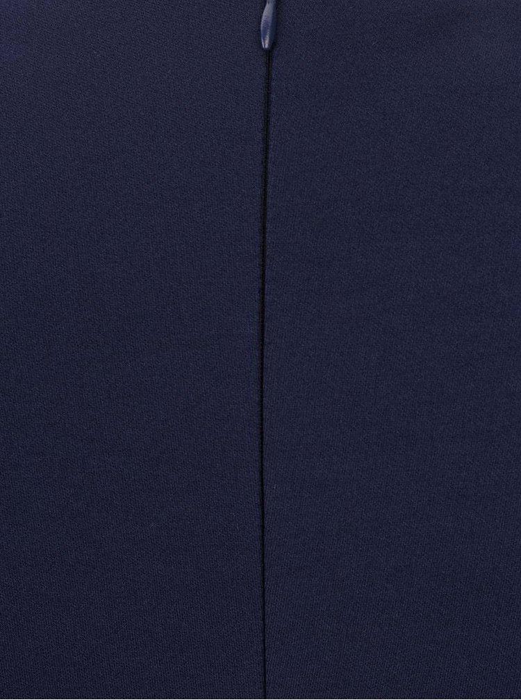 Rochie bleumarin Goddiva cu maneci 3/4 si panglica decorativa