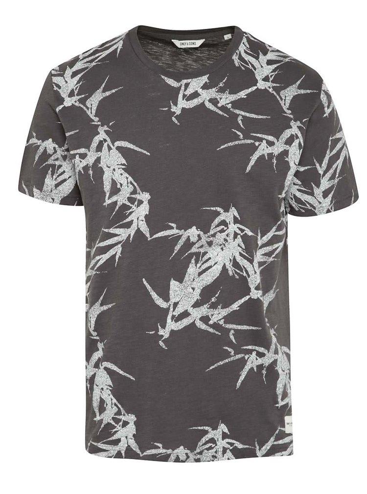 Tmavě šedé triko s potiskem ONLY & SONS Thorleif