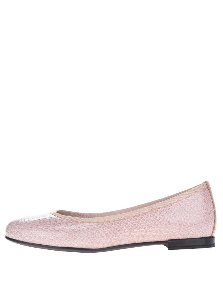 Balerini roz pal OJJU din piele cu model și aspect lucios
