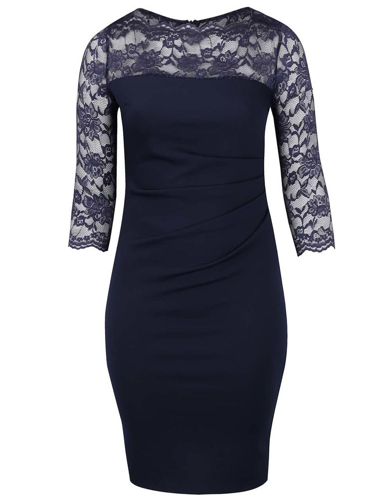 Tmavě modré plus size šaty s krajkovými 3/4 rukávy Goddiva