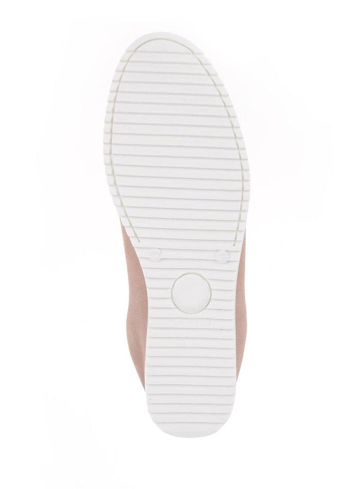 Starorůžové dámské semišové mokasíny s koženým detailem na patě OJJU