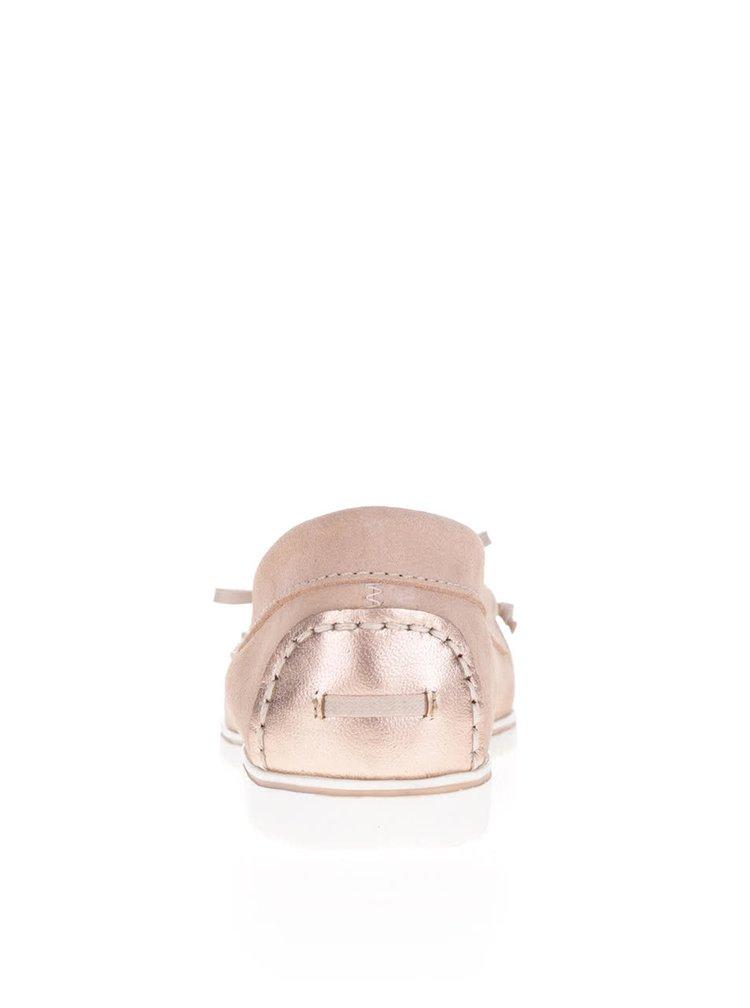 Mocasini roz OJJU din piele întoarsă cu detaliu de culoarea bronzului