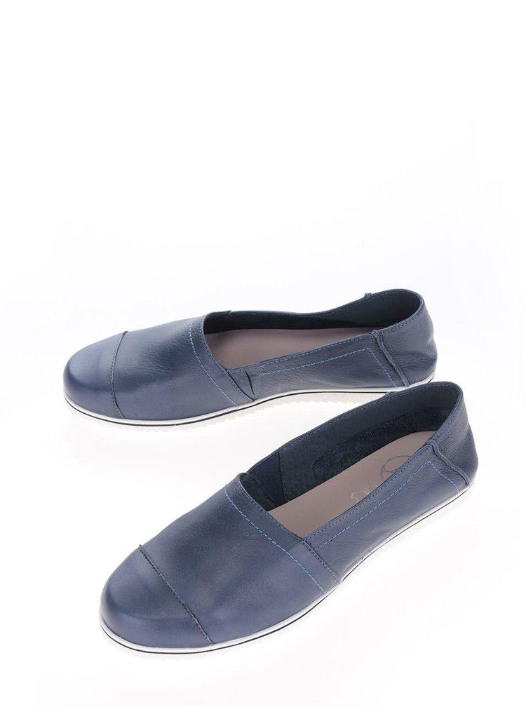 Tmavě modré dámské kožené loafers OJJU