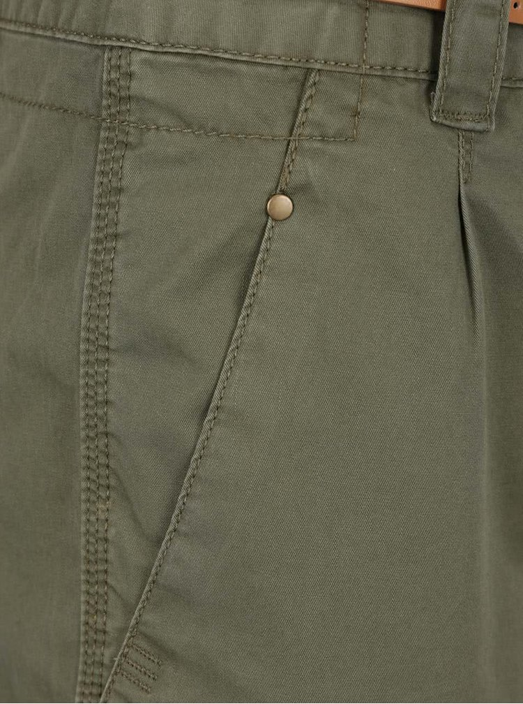 Khaki kraťasy s páskem VERO MODA Boni