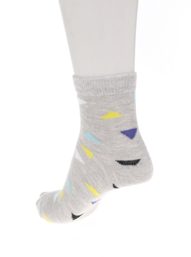 Sada tří vzorovaných holčičích ponožek v šedé a tyrkysové barvě 5.10.15.