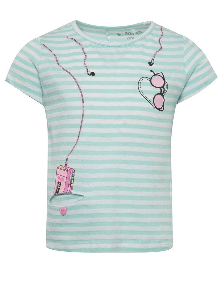 Krémovo-tyrkysové pruhované holčičí tričko s krátkým rukávem 5.10.15.
