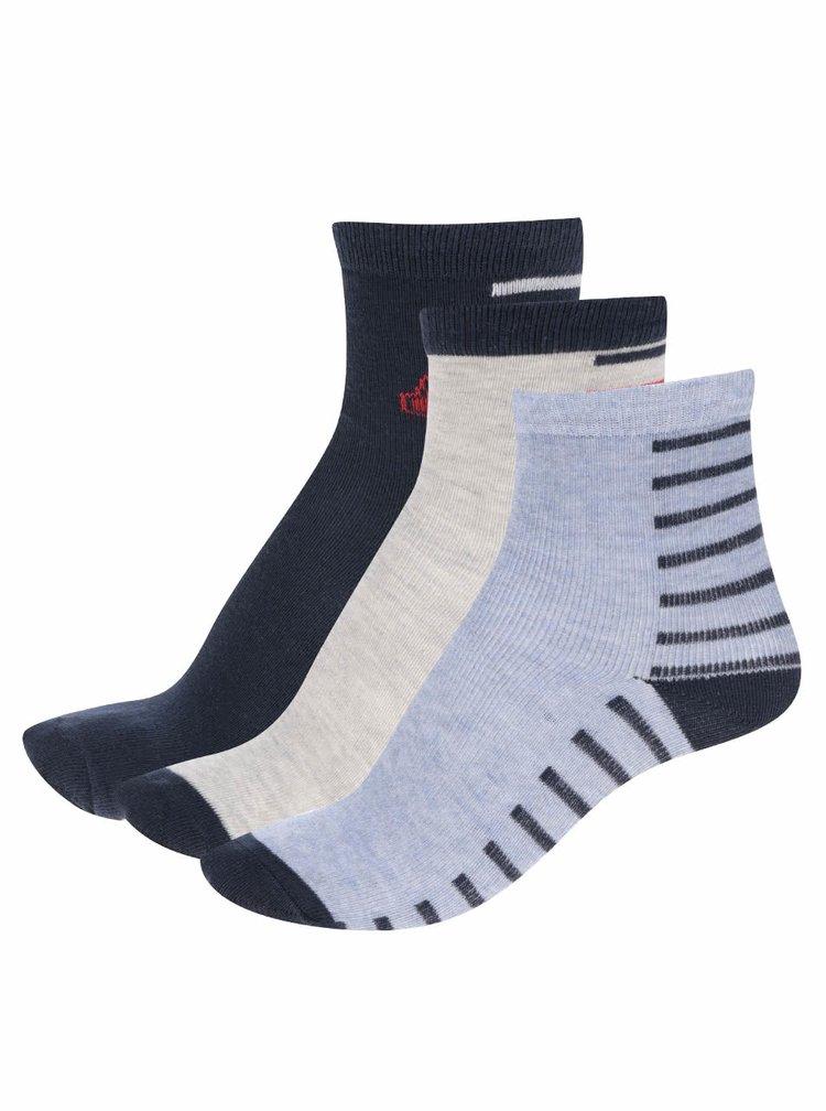 Sada tří pruhovaných klučičích ponožek v šedé a modré barvě 5.10.15.