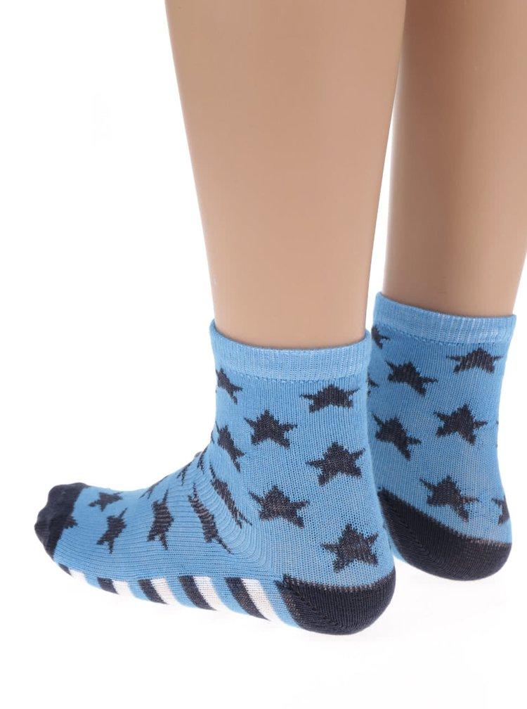 Sada tří vzorovaných klučičích ponožek v modré barvě 5.10.15.